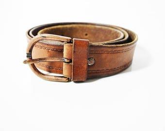 Vintage Handmade Leather Belt Brown Size 34