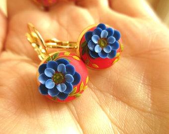 Handmade Jewelry Polymer Clay Earrings Real Gold Plated Earrings Blue Earrings Red Earrings Drop earrings Floral Earrings Flower Earrings