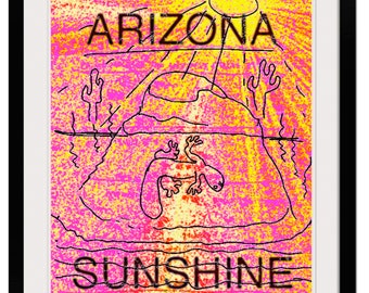 AZ SUNSHINE Original Art 8x10 Giclée Print Travel Poster Arizona Highways Vintage Poster Style Wall Art Home Decor Southwest Travel Poster