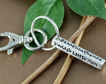 Daddy's Little Boy/Girl | Pewter Bar Keychain | Personalized KeyChain | Gift for New Dad | Daddy Key Chains | Hand Stamped Keychain