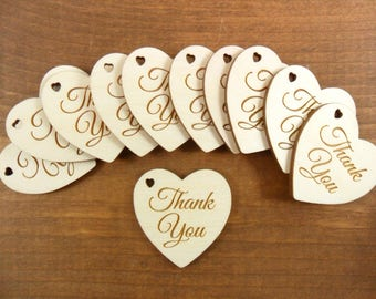 "Wedding Thank You Heart Signs Favor Tags / Anniversary 1 1/2"" x 1 1/2"" x 1/8"" Laser Cut Wood Shapes - Select Number of Pieces"