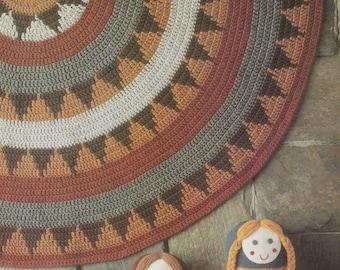 """Crochet Floor Rug Pattern, Crochet Pattern, Crochet Floor Rug, Approx 130cm (51""""), 12 ply pattern, Instant Download, Crochet Pattern, 1970s"""
