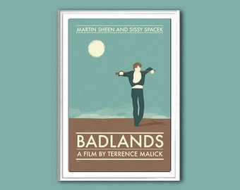 Movie poster Badlands 12x18 inches retro print