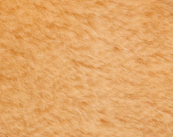 """10% OFF:  German Mohair Fabric, Peach Yellow, Straight, 8mm Pile, Size 27 x 18"""" 50001021"""