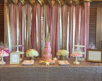 Blush pink and gold hand dyed Fabric backdrop for ceremony 5ft x 8ft - Wedding & Party decor, photo booth backdrop