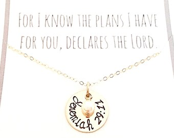 For I Know The Plans I Have For You - Jeremiah 29:11 Necklace - 14K Gold Filled Hand Stamped Pendant & Pearl- Graduation Gift, Verse Jewelry
