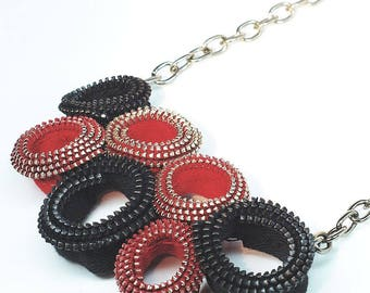 Zipper Necklace- Red & Black Contemporary Jewelry, Fashion Necklace, Recycled Zipper Found Object Jewelry, Sewing Necklace, Gift for Sewer