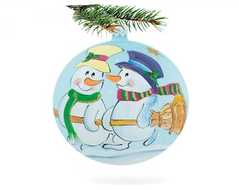 Glass snowman bauble-snowman decorations-handmade snowman ball-snowman painting ball-snowmen ornament ball-glass bauble snowman-xmas ball-01