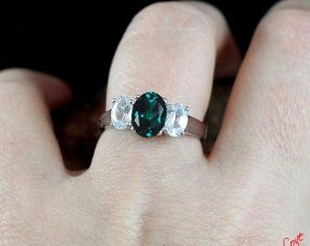 Emerald & White Sapphire 3 Stone Oval Engagement Ring 2ct 1ct 8x6mm 6x4mm 14k 18k White Yellow Rose Gold Platinum Custom Wedding Anniversary