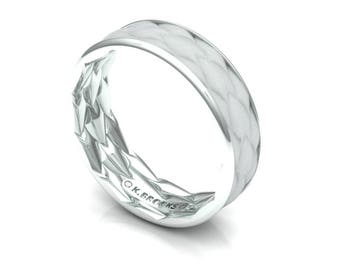 Dragon Scale Wedding Band in White Gold