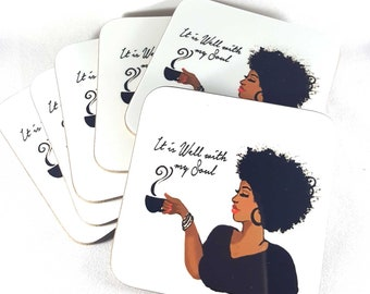 Coasters It Is Well with My Soul drink coasters | African American lady coffee curly afro hair | Set of 6 coasters by Robyn Palmer Designs
