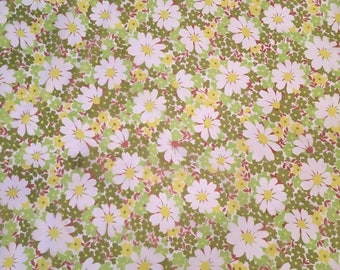 Fabric lining pattern Floral Daisy green white