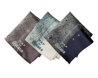 Chicago Map Pocket Square. Windy City, Cubs fan gift. Screen printed men's handkerchief. Choose black, platinum & more.