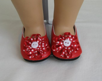 American Made  For  AMERICAN GIRL DOLLS, Red Flower Trimmed Shoes Fit American Girl Dolls