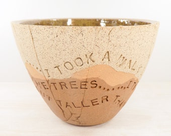 Henry David Thoreau - Pottery Bowl - I Took a Walk in the Woods - Literary Art / Inspiration Gift / Nature Lover Gift  / Nature Art