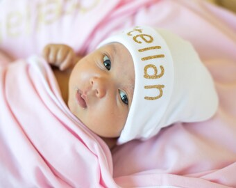 Newborn Girl Name Hat, Personalized Newborn Hat, Newborn Photo Prop, Baby Shower Gift, New Baby Hat, Baby Girl, Baby Boy, Newborn Baby Hat