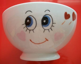 """Decorated Bowl """"face smiling and full of love"""", Limoges porcelain bowl, Bowl handpainted, child adult Bowl Bowl"""