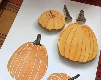 Autumn Pumpkins Rubber Stamp Hand Carved