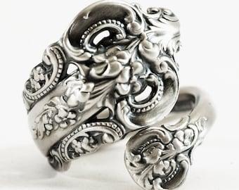 Vintage Spoon Ring, Grande Baroque, Sterling Silver Spoon Ring, Victorian Ring, Wallace Baroque, Wrap Ring, Adjustable Ring, Fancy Ring 6020