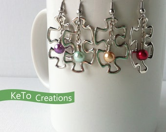 Puzzle Piece Earrings, Autism Awareness Earrings, Puzzle Statement Earrings, Tell Your Story Earrings, Colored Pearls