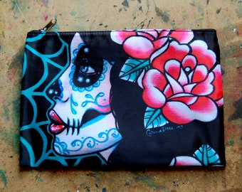 Cosmetic Bag Case | Lost In Reverie by Carissa Rose | Day of the Dead Sugar Skull Girl | Rockabilly Psychobilly Goth Accessory