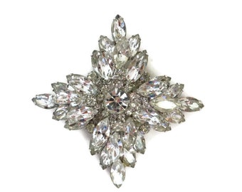 Juliana Crystal Brooch, D&E Floral Pin, Large Clear Crystal Statement Brooch, Bridal Jewelry, Gift Idea