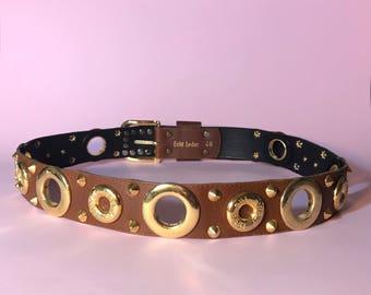 80s brown leather belt / camel leather belt / gold hardware belt / studded belt / vintage womens belt / XS /S / M