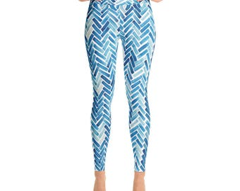Pellerina blue watercolor herringbone womens Yoga Leggings pants athletic leggings