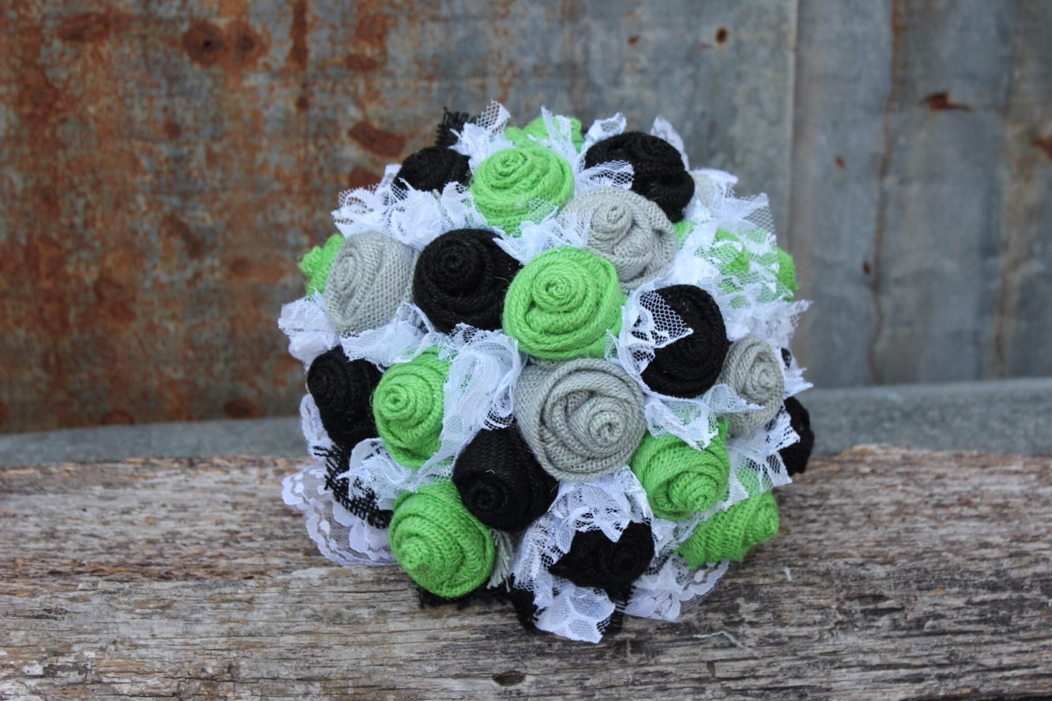 Lime Green Black and Gray Burlap and Lace Wedding Bouquets