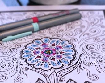Adult Kids Set of 3 Coloring Pattern Design Printable Instant pdf Download Original Artwork