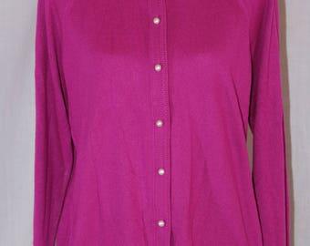 Vintage DESIGNERS ORIGINALS Pink Purple Acrylic Long Sleeve Button Down Cardigan Sweater Size XL 42
