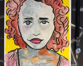 Watercolor Female Portrait Painting | original painting | fine art | Shizen Fluid paper | 6x8 inches