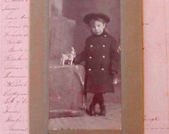 Little Johnnie Kellogg: Edwardian Photograph of Sweet Boy and His Toy Donkey