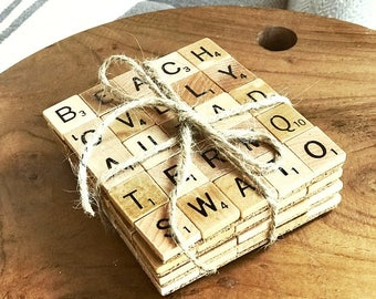 Set of 4 BEACH Themed Scrabble Tile Drink Coasters