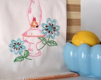 Kitchen Towel, Dish Towel, Kitchen Decor, Tea Towel, Embroidered Towel, Vintage Linens, Dish Towel, Kitchen Linens, Teacher Gift