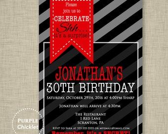 Surprise 30th Birthday Invitation Mens Masculine Invite Red Black Gray Party Invite Stripes Adult Party Invite Printable Invite 344