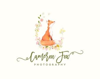 Premade Photography Logo Design, Animal logo, Children Clothing Logo, Cute Fox Baby Boutique Logo, Photography logo, Blog Header 353
