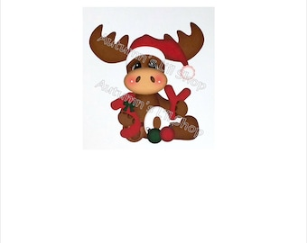 Moose Christmas Card Set, Christmas Moose, Holiday Card Set, Kids Holiday Cards, Animal Christmas, Kids Christmas Card Set, 6 CT