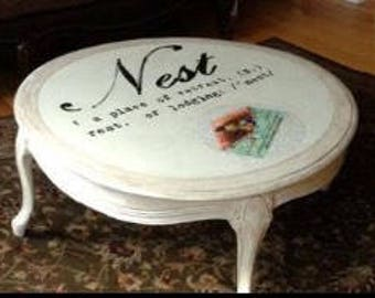 Nest Handpainted Coffee Table, Nest with definition Coffee Table - Handpainted Coffee Table - Local Delivery (Monmouth/Ocean County NJ)