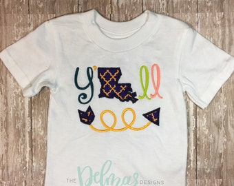 Southern Y'all Appliqué and Embroidery Kids Shirt