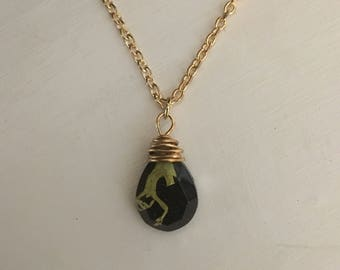 Teardrop-Shaped Resin Pendant Necklace with Real Suspended Plant (Lichen)
