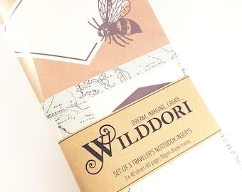 Wilddori 'Bee Krafty' Travelers Notebook Journal Insert, Set of 3 Regular Size, Midori Style.