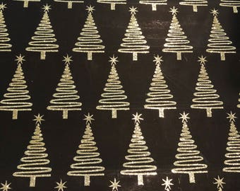 Black Paper with Gold Glitter Christmas Trees Personal Dividers OR A5 Dashboard