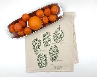 Varieties of Hops Flour Sack Towel - Deluxe Natural Tea Towel - Hand Screen Printed - Perfect for the beer lover