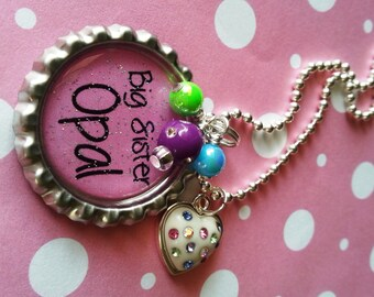 BIG SISTER Gift New SISTER Necklace Personalized Girls Necklace Pink Heart Birthday New Baby Sister