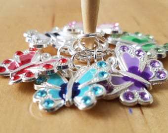 Butterflies are Free Stitch Markers, knitting markers, knitter gifts, knit accessories, snag free crochet markers