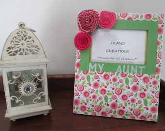 3x5 My Aunt Themed - Hand Decorated Picture Frame