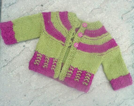Knitting Pattern Seamless Top Down Baby Girl Cardigan Jacket