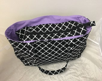 100 Percent Cotton Fabric/Black and White Travel Tote Bag