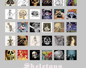 Skeletons Day of the Dead Dia de los Muertos Digital Collage Sheet - Instant Download 1x1 inched size pendant charm s